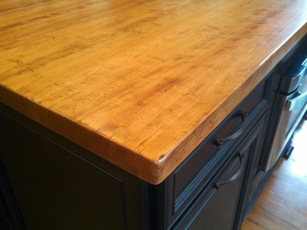 Distressed Edge Grain Cherry Kitchen Island Top