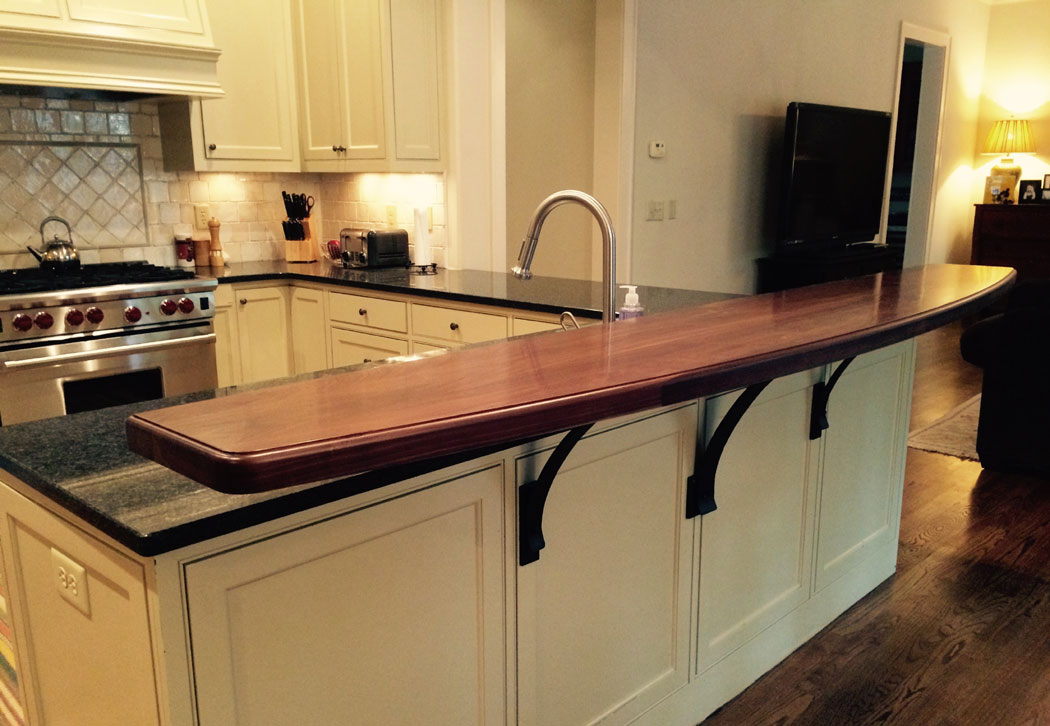 Merveilleux Walnut Raised Kitchen Bar Top