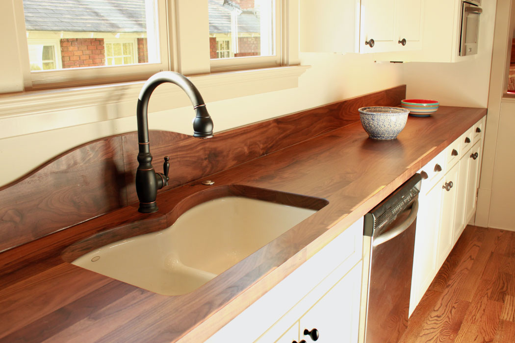 Walnut Countertop W/ Back Splash
