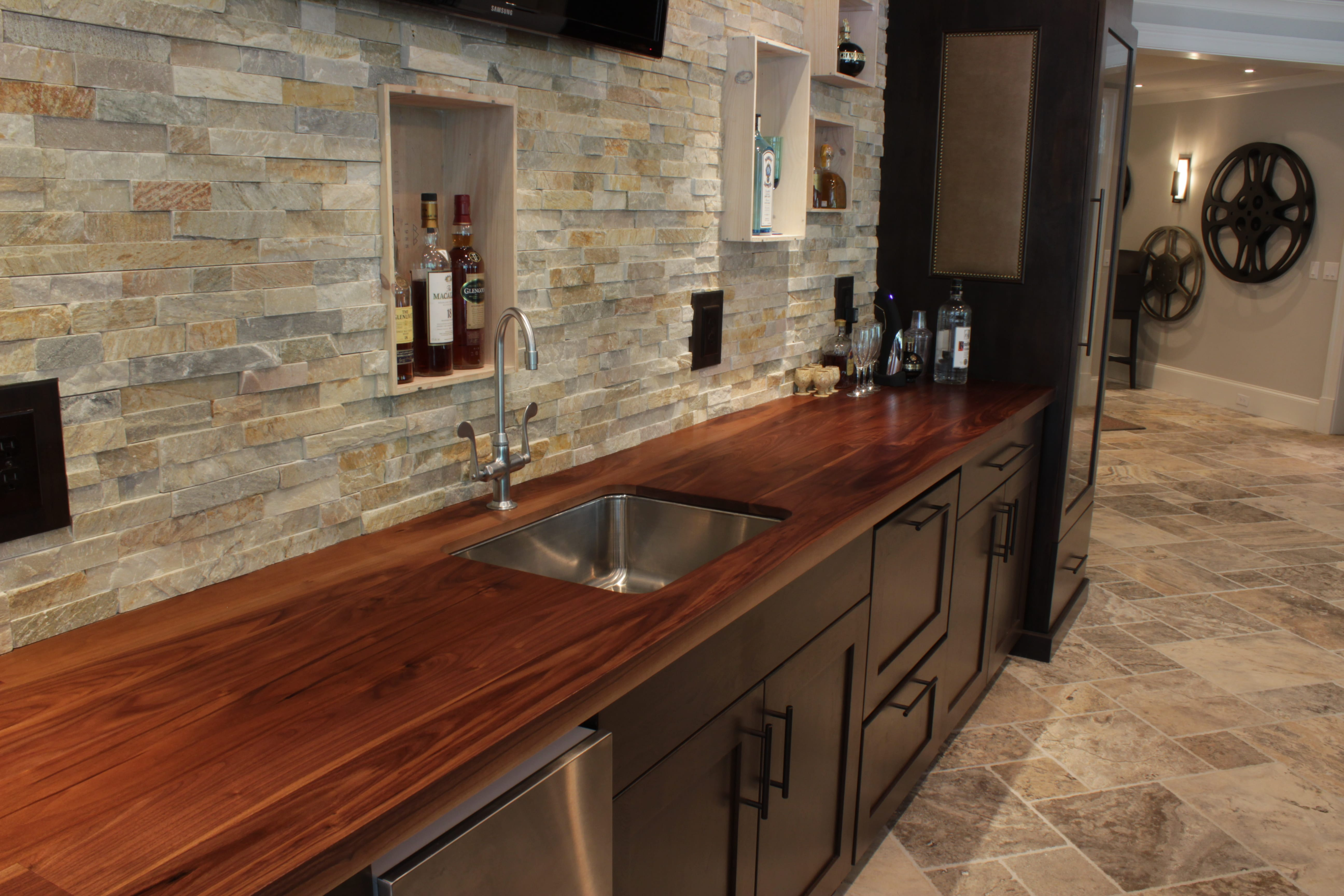 Wood countertop in wet bar
