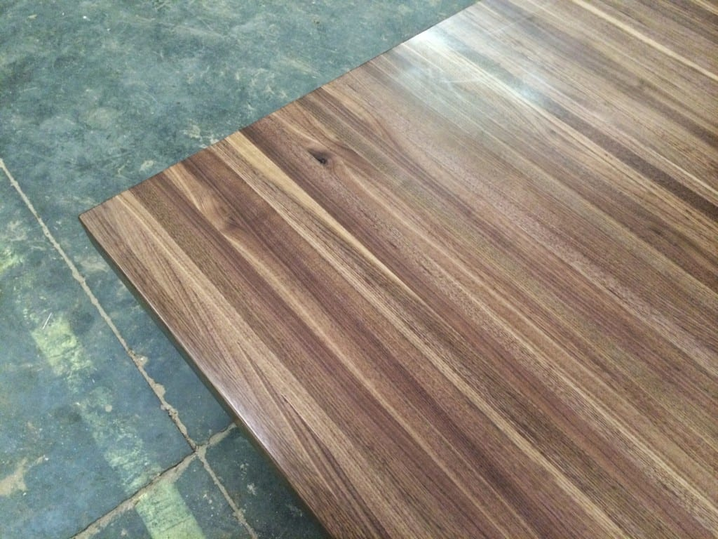 Custom walnut wood countertop with built up edge