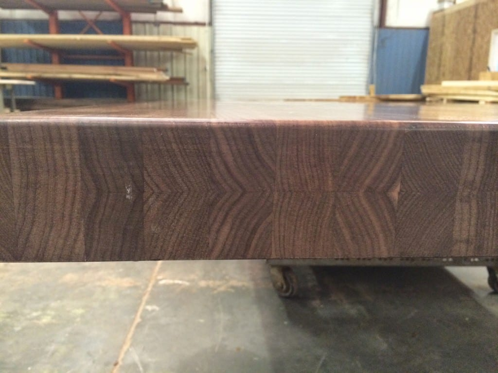Custom walnut butcher block with built up ege