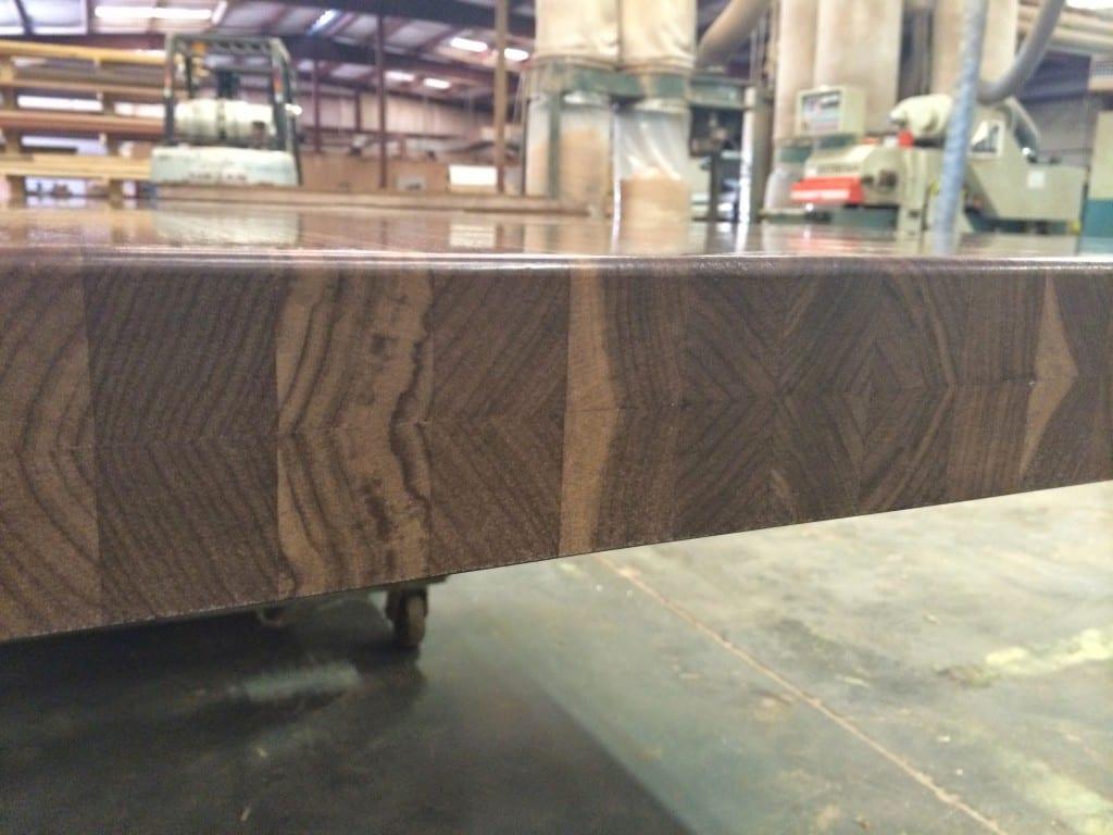 Custom walnut butcher block with built up edge