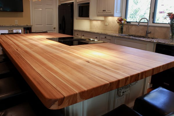 Hickory Butcher Block Kitchen Island Top
