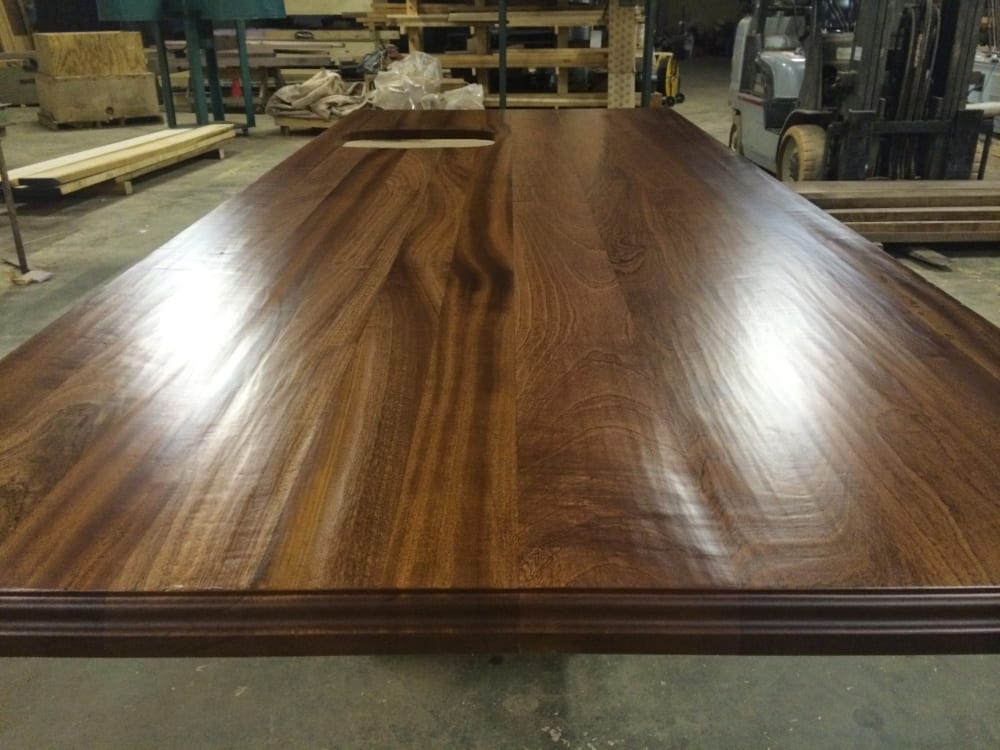 Hand hewn wooden kitchen island top