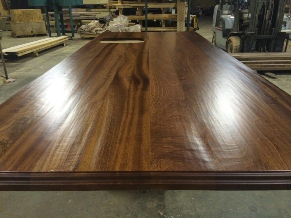 Hand hewn wooden kitchen island top