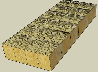 End grain construction for butcher block countertops