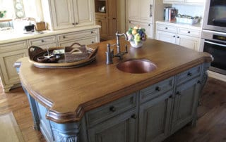 Wood island top with sink.