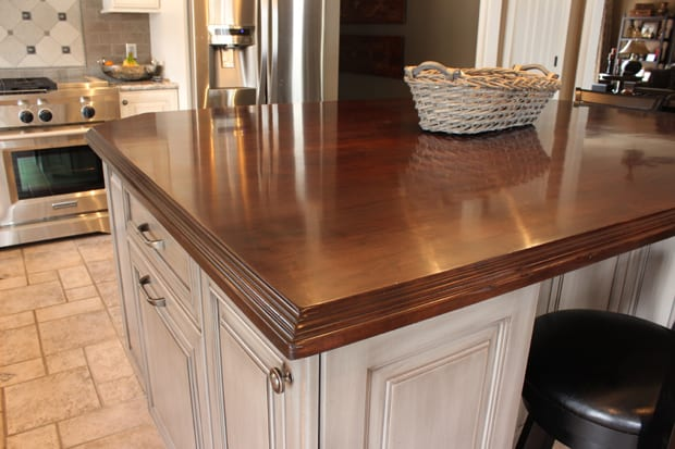 Stained maple island 2 j aaron for Maple slab countertop