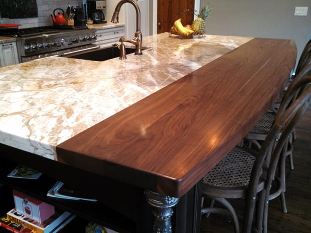 Eat at bars are a good place to introduce some wood into a kitchen.