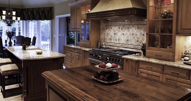 Distressed walnut kitchen island