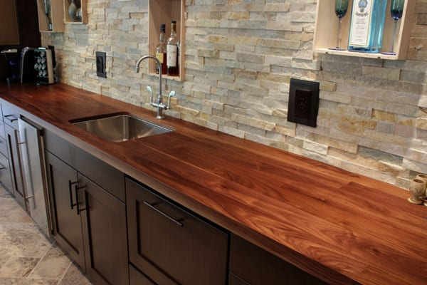 Custom Walnut Counter With Raised Bar Top - J. Aaron