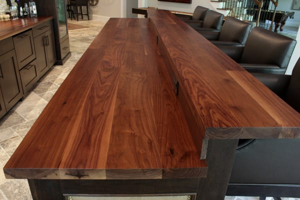 Walnut island with raised bar top