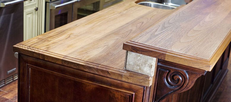 Teak kitchen island sealed with Rubio Monocoat wood sealer