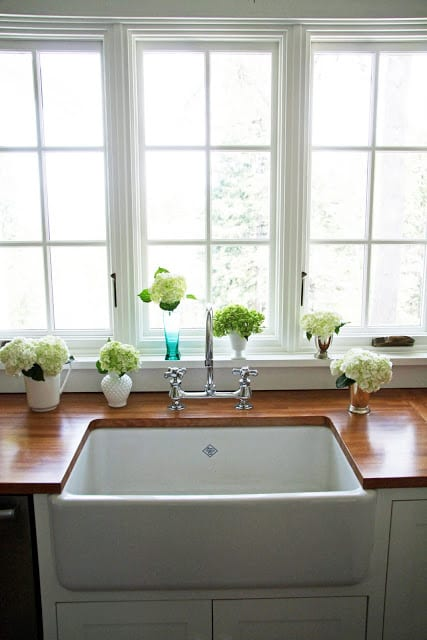 Sink in a wood countertop