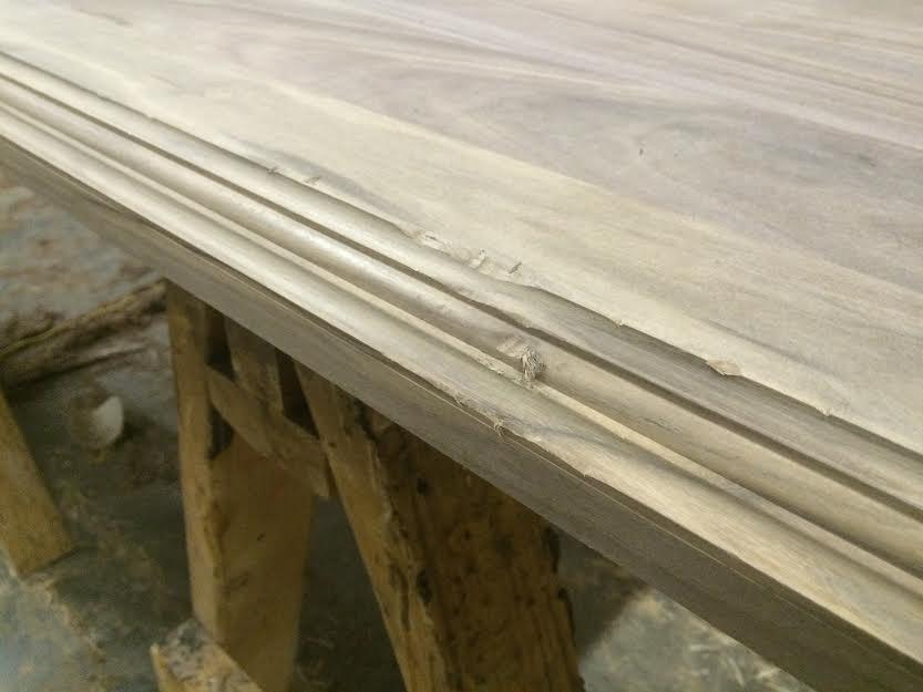 Distressed edge profile of walnut countertop