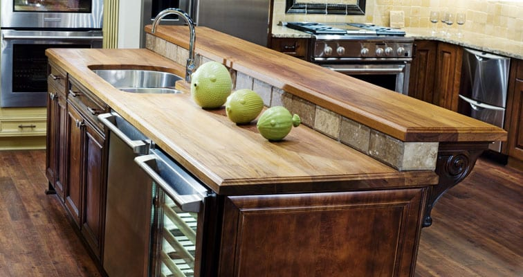 Two level wood countertop.