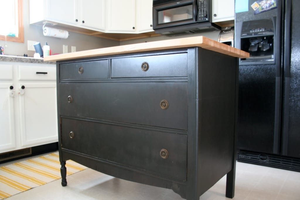 Black Dresser With Wood Top