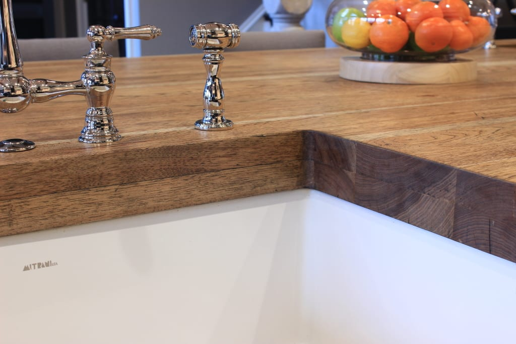 Wood countertop with sink.