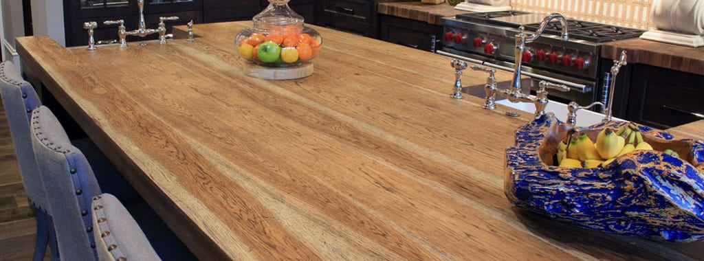 Distressed Hickory Kitchen Island Top