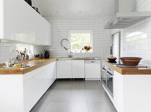White Kitchen With Wood Countertops.