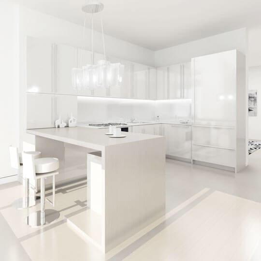Al white modern kitchen.