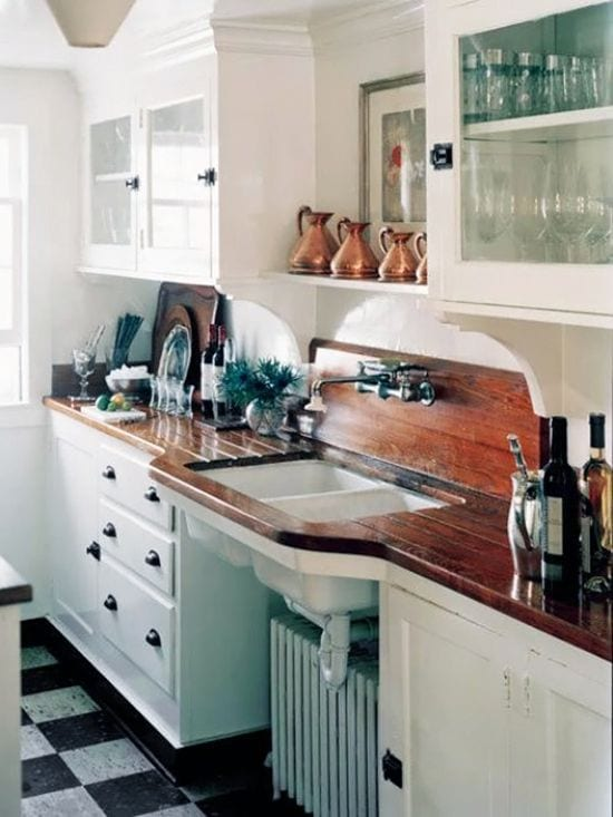 Wood countertop with a sink.