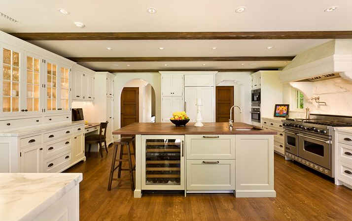terrific wood countertop white kitchen island | White Kitchens and Wood Countertops - J. Aaron