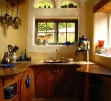 Wood countertops in adobe house