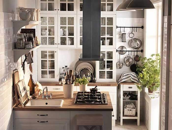 Small kitchen with wood counters.