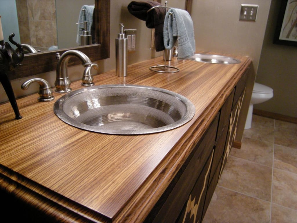 Superbe Steel Vanity Sinks In Wood Top