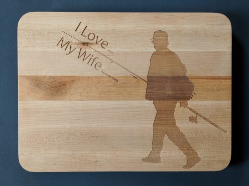 Cutting board with fisherman