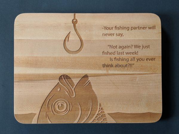 Cutting board with fish