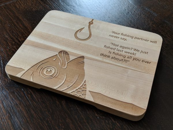 Cutting board with fish