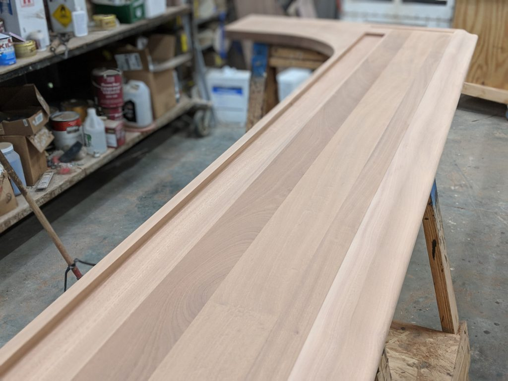 Custom Wood Bar Top With Chicago Bar Rail